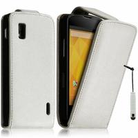 Google Nexus 4 E960/ Mako: Accessoire Etui Housse Coque Pochette simili cuir + mini Stylet - BLANC