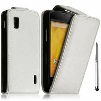 Google Nexus 4 E960/ Mako: Accessoire Etui Housse Coque Pochette simili cuir + Stylet - BLANC