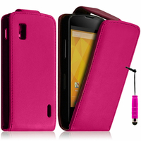 Google Nexus 4 E960/ Mako: Accessoire Etui Housse Coque Pochette simili cuir + mini Stylet - ROSE