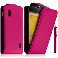 Google Nexus 4 E960/ Mako: Accessoire Etui Housse Coque Pochette simili cuir + Stylet - ROSE