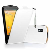 Google Nexus 4 E960/ Mako: Accessoire Housse coque etui cuir fine slim + mini Stylet - BLANC