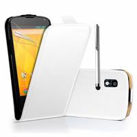 Google Nexus 4 E960/ Mako: Accessoire Housse coque etui cuir fine slim + Stylet - BLANC