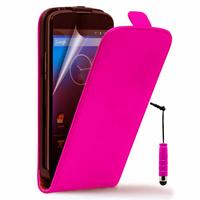Google Nexus 4 E960/ Mako: Accessoire Housse coque etui cuir fine slim + mini Stylet - ROSE