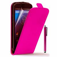 Google Nexus 4 E960/ Mako: Accessoire Housse coque etui cuir fine slim + Stylet - ROSE