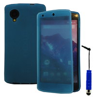 Google Nexus 5: Accessoire Coque Etui Housse Pochette silicone gel Portefeuille Livre rabat + mini Stylet - BLEU