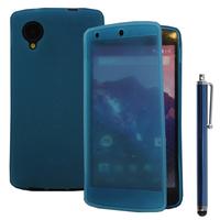 Google Nexus 5: Accessoire Coque Etui Housse Pochette silicone gel Portefeuille Livre rabat + Stylet - BLEU