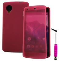 Google Nexus 5: Accessoire Coque Etui Housse Pochette silicone gel Portefeuille Livre rabat + mini Stylet - ROSE