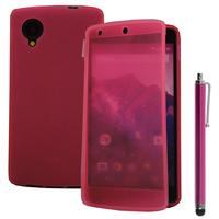 Google Nexus 5: Accessoire Coque Etui Housse Pochette silicone gel Portefeuille Livre rabat + Stylet - ROSE
