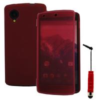 Google Nexus 5: Accessoire Coque Etui Housse Pochette silicone gel Portefeuille Livre rabat + mini Stylet - ROUGE