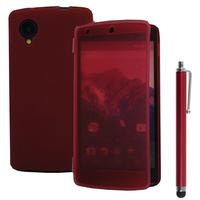 Google Nexus 5: Accessoire Coque Etui Housse Pochette silicone gel Portefeuille Livre rabat + Stylet - ROUGE