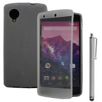 Google Nexus 5: Accessoire Coque Etui Housse Pochette silicone gel Portefeuille Livre rabat + Stylet - TRANSPARENT