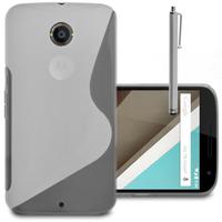 Motorola Nexus 6/ Nexus X: Accessoire Housse Etui Pochette Coque S silicone gel + Stylet - TRANSPARENT