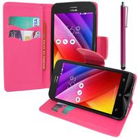 Asus Zenfone 2 ZE500CL/ Zenfone 2E: Accessoire Etui portefeuille Livre Housse Coque Pochette support vidéo cuir PU effet tissu + Stylet - ROSE