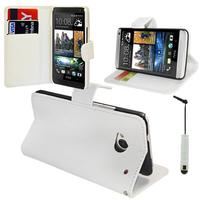 HTC One Mini M4/ 601/ 601e/ 601n/ 601s: Accessoire Etui portefeuille Livre Housse Coque Pochette support vidéo cuir PU + mini Stylet - BLANC