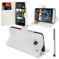 HTC One Mini M4/ 601/ 601e/ 601n/ 601s: Accessoire Etui portefeuille Livre Housse Coque Pochette support vidéo cuir PU + Stylet - BLANC