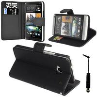 HTC One Mini M4/ 601/ 601e/ 601n/ 601s: Accessoire Etui portefeuille Livre Housse Coque Pochette support vidéo cuir PU + mini Stylet - NOIR