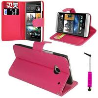 HTC One Mini M4/ 601/ 601e/ 601n/ 601s: Accessoire Etui portefeuille Livre Housse Coque Pochette support vidéo cuir PU + mini Stylet - ROSE