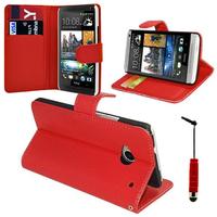 HTC One Mini M4/ 601/ 601e/ 601n/ 601s: Accessoire Etui portefeuille Livre Housse Coque Pochette support vidéo cuir PU + mini Stylet - ROUGE