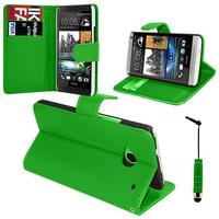 HTC One Mini M4/ 601/ 601e/ 601n/ 601s: Accessoire Etui portefeuille Livre Housse Coque Pochette support vidéo cuir PU + mini Stylet - VERT