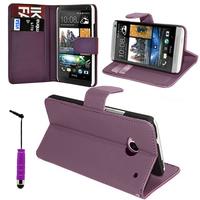 HTC One Mini M4/ 601/ 601e/ 601n/ 601s: Accessoire Etui portefeuille Livre Housse Coque Pochette support vidéo cuir PU + mini Stylet - VIOLET