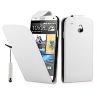 HTC One Mini M4/ 601/ 601e/ 601n/ 601s: Accessoire Etui Housse Coque Pochette simili cuir + mini Stylet - BLANC