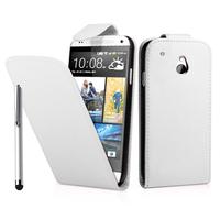 HTC One Mini M4/ 601/ 601e/ 601n/ 601s: Accessoire Etui Housse Coque Pochette simili cuir + Stylet - BLANC