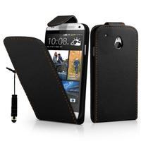 HTC One Mini M4/ 601/ 601e/ 601n/ 601s: Accessoire Etui Housse Coque Pochette simili cuir + mini Stylet - NOIR