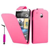 HTC One Mini M4/ 601/ 601e/ 601n/ 601s: Accessoire Etui Housse Coque Pochette simili cuir + mini Stylet - ROSE