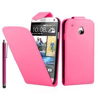 HTC One Mini M4/ 601/ 601e/ 601n/ 601s: Accessoire Etui Housse Coque Pochette simili cuir + Stylet - ROSE