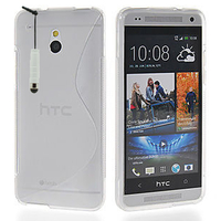 HTC One Mini M4/ 601/ 601e/ 601n/ 601s: Accessoire Housse Etui Pochette Coque S silicone gel + mini Stylet - TRANSPARENT