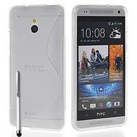 HTC One Mini M4/ 601/ 601e/ 601n/ 601s: Accessoire Housse Etui Pochette Coque S silicone gel + Stylet - TRANSPARENT