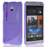 HTC One Mini M4/ 601/ 601e/ 601n/ 601s: Accessoire Housse Etui Pochette Coque S silicone gel + mini Stylet - VIOLET
