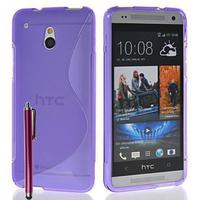 HTC One Mini M4/ 601/ 601e/ 601n/ 601s: Accessoire Housse Etui Pochette Coque S silicone gel + Stylet - VIOLET