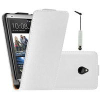 HTC One Mini M4/ 601/ 601e/ 601n/ 601s: Accessoire Housse coque etui cuir fine slim + mini Stylet - BLANC