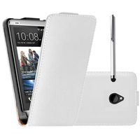 HTC One Mini M4/ 601/ 601e/ 601n/ 601s: Accessoire Housse coque etui cuir fine slim + Stylet - BLANC