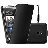 HTC One Mini M4/ 601/ 601e/ 601n/ 601s: Accessoire Housse coque etui cuir fine slim + mini Stylet - NOIR
