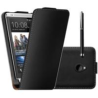 HTC One Mini M4/ 601/ 601e/ 601n/ 601s: Accessoire Housse coque etui cuir fine slim + Stylet - NOIR