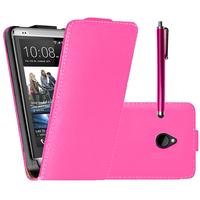 HTC One Mini M4/ 601/ 601e/ 601n/ 601s: Accessoire Housse coque etui cuir fine slim + Stylet - ROSE