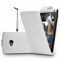 HTC One M7: Accessoire Etui Housse Coque Pochette simili cuir + mini Stylet - BLANC