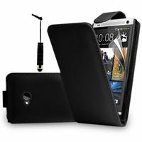 HTC One M7: Accessoire Etui Housse Coque Pochette simili cuir + mini Stylet - NOIR