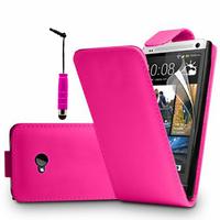 HTC One M7: Accessoire Etui Housse Coque Pochette simili cuir + mini Stylet - ROSE