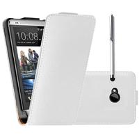HTC One M7: Accessoire Housse coque etui cuir fine slim + Stylet - BLANC