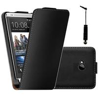 HTC One M7: Accessoire Housse coque etui cuir fine slim + mini Stylet - NOIR