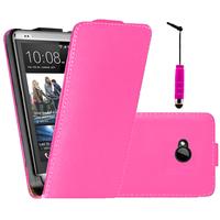 HTC One M7: Accessoire Housse coque etui cuir fine slim + mini Stylet - ROSE