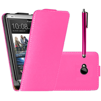 HTC One M7: Accessoire Housse coque etui cuir fine slim + Stylet - ROSE