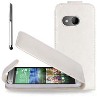HTC One mini 2/ M8 Mini: Accessoire Etui Housse Coque Pochette simili cuir + Stylet - BLANC