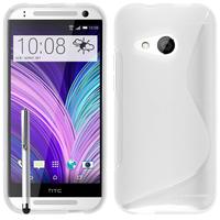 HTC One mini 2/ M8 Mini: Accessoire Housse Etui Pochette Coque S silicone gel + Stylet - BLANC
