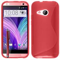 HTC One mini 2/ M8 Mini: Accessoire Housse Etui Pochette Coque S silicone gel + Stylet - ROUGE