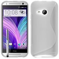 HTC One mini 2/ M8 Mini: Accessoire Housse Etui Pochette Coque S silicone gel + Stylet - TRANSPARENT