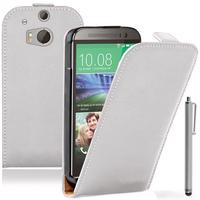 HTC One mini 2/ M8 Mini: Accessoire Housse coque etui cuir fine slim + Stylet - BLANC